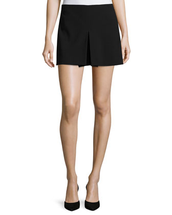 Tennis-Style Skirt W/Inverted Center Pleat, Black