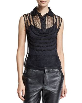 Sleeveless Lace-Bib Blouse