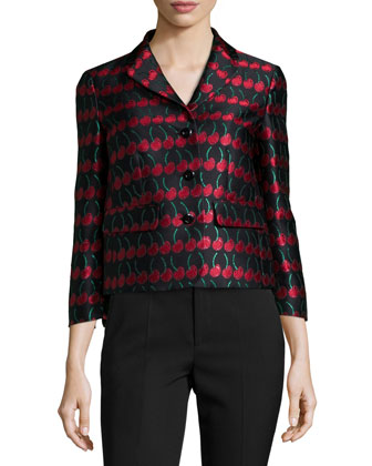 Cherry-Print Button-Front Jacket, Black