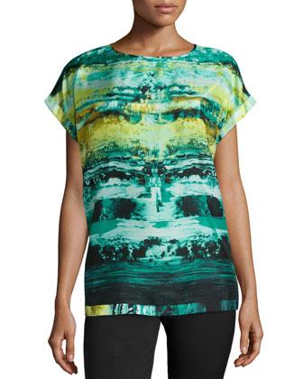 Donna Short-Sleeve Printed Top, Aquarium/Multi