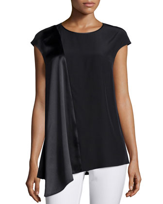 Lecia Cap-Sleeve Combo Blouse, Black