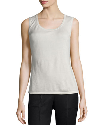 Scoop-Neck Cashmere-Blend Shell, Raffia