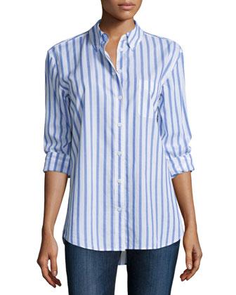 Margaux Button-Front Shirt, Bright White/Hydrangea