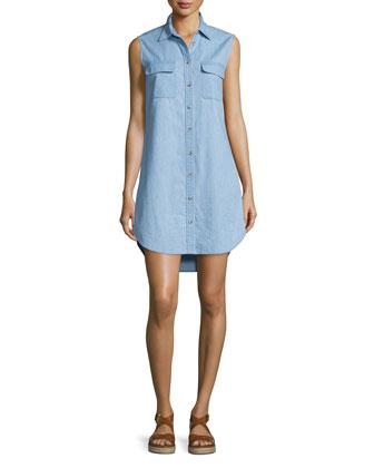 Slim Signature Sleeveless Shirtdress, Blue