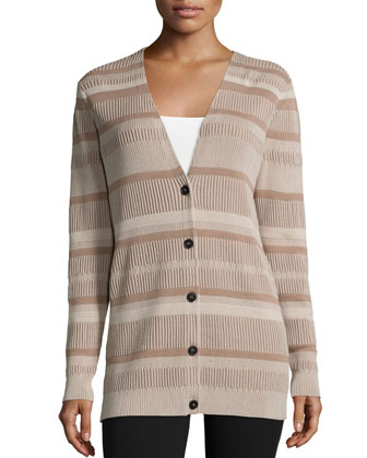 Vanise Button-Front Striped Cardigan, Khaki/Multi