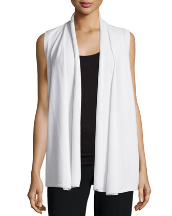 Open-Front Cashmere Vest, Cloud