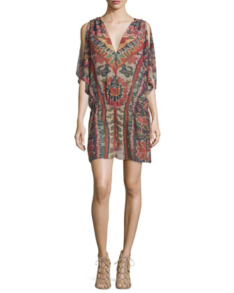 Lupita Half-Sleeve V-Neck Tunic Top, Red Lotus