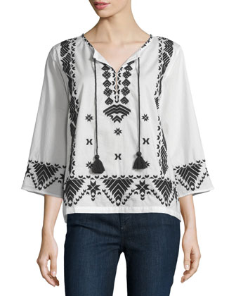 Javanna 3/4-Sleeve Embroidered Top, Ivory