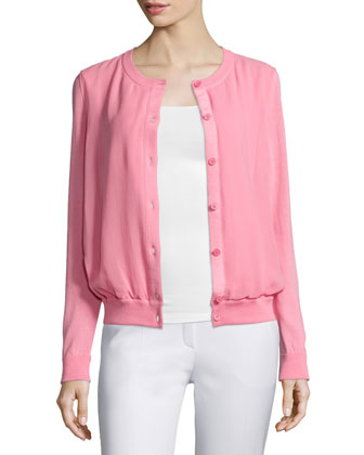 Long-Sleeve Button-Front Cardigan, Primrose