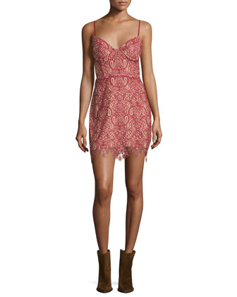 Vika Sleeveless Lace Mini Dress, Red/Nude
