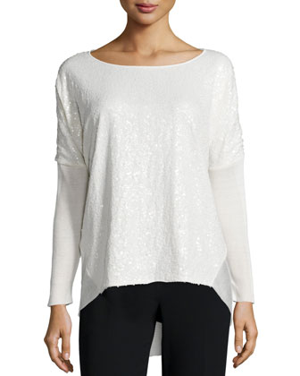 Long-Sleeve Embellished-Front Sweater, Cloud
