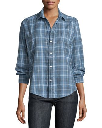Barry Long-Sleeve Plaid Shirt, Blue/Gray