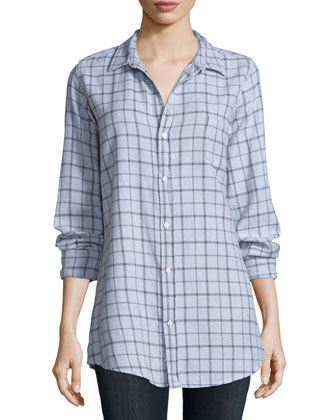 Shirley Long-Sleeve Plaid Blouse, Gray/White