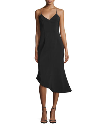 Rip Tide Sleeveless Asymmetric Dress, Black