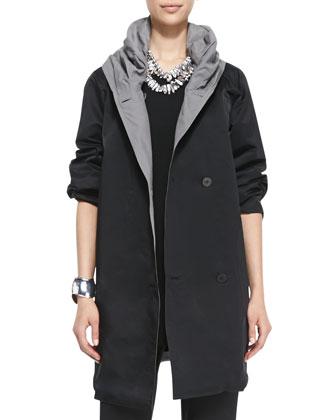 Reversible Hooded Rain Coat, Women's