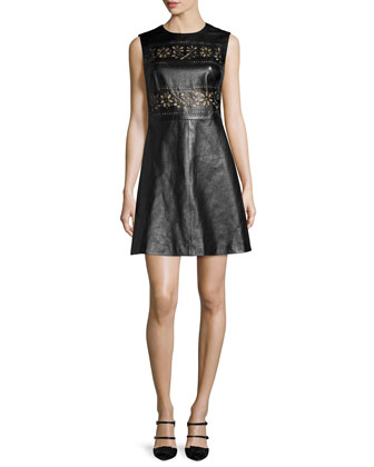 Sleeveless Laser-Cut Leather Dress, Black