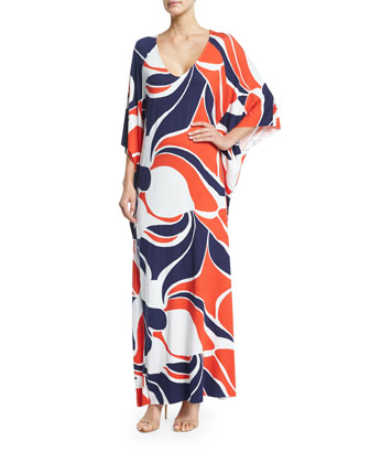Tillie 3/4-Sleeve Printed Maxi Dress, Mod Print