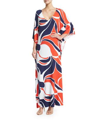Tillie 3/4-Sleeve Printed Maxi Dress, Mod Print, Women's