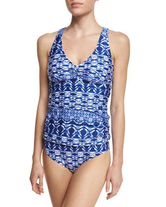 Cross-Back Printed Tankini Swim Top, Women's