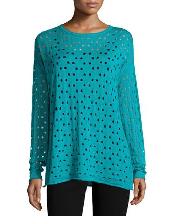 Long-Sleeve Eyelet-Stitch Sweater, Splash