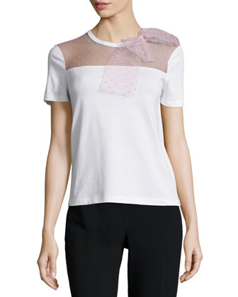 Short-Sleeve T-Shirt W/Lace Bow