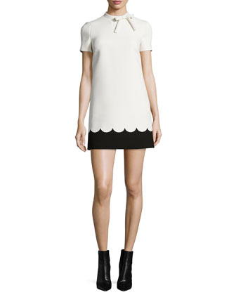 Short-Sleeve Two-Tone Scallop Dress, Ivory/Black