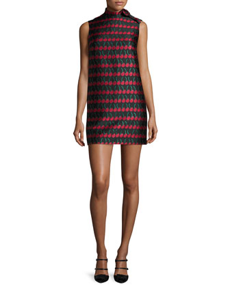 Sleeveless Cherry-Print Shift Dress, Black
