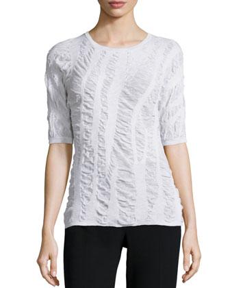 Half-Sleeve Round-Neck Top, White