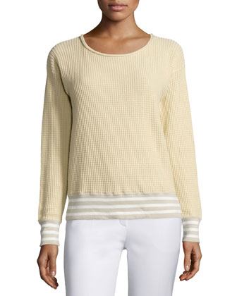Long-Sleeve Waffle-Stitch Sweater, Cornsilk/Multi