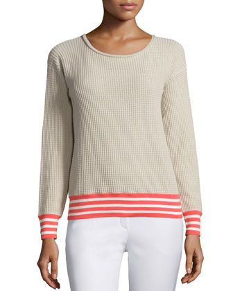 Long-Sleeve Waffle-Stitch Sweater, Khaki/Multi