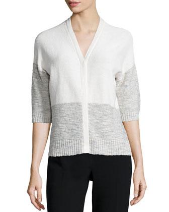 Half-Sleeve Colorblock Cardigan, Mirage/Multi