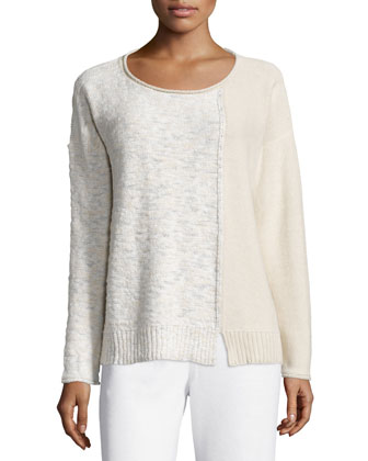 Long-Sleeve Colorblock Pullover, Raffia/Multi