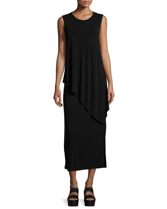 Sleeveless Layered Asymmetric Jersey Dress, Black