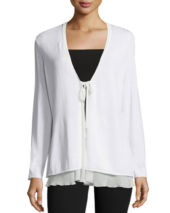 Long-Sleeve Tie-Front Cardigan,White