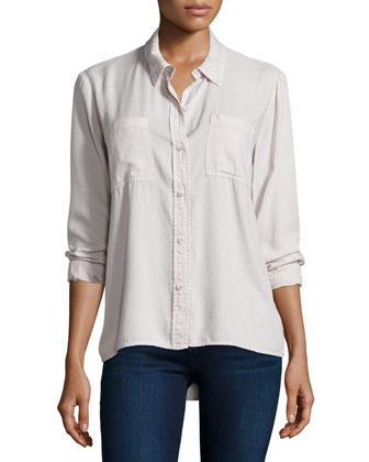 Long-Sleeve Button-Front Shirt, White Sand