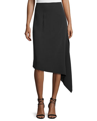 Asymmetric Crepe Bias-Cut Skirt, Black
