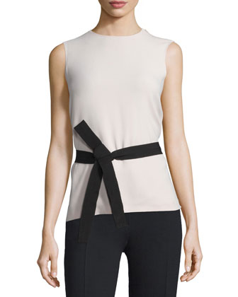 Sleeveless Belted Crepe Top, Cameo