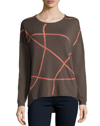 Long-Sleeve Two-Tone Sweater, Granite/Multi