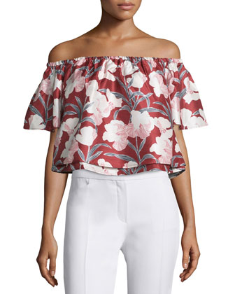 Foundations Off-The-Shoulder Floral Top, Dark Wallpaper Flower