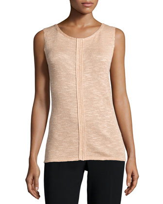 Scoop-Neck Shell W/Seaming Detail, Peach Sorbet