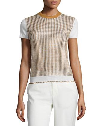 Short-Sleeve Shrunken Wool-Blend Tee, Ivory/Camel