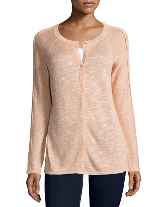 Linen-Blend Button Cardigan, Peach Sorbet