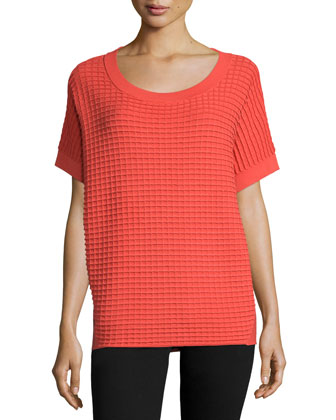 Short-Sleeve Waffle-Stitch Sweater, Bonfire/Multi