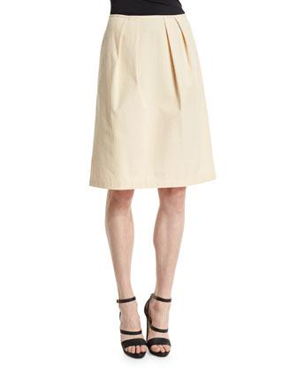 Pleated A-Line Skirt, Cornsilk