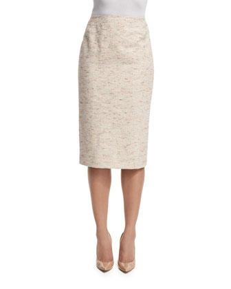Long Pencil Skirt, Raffia/Multi