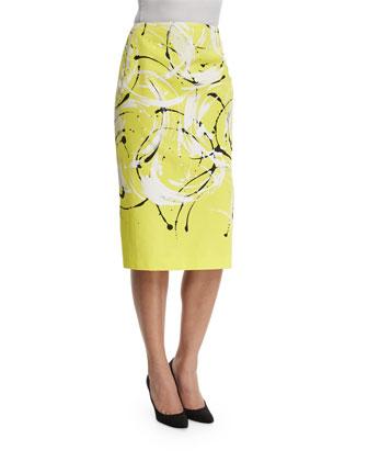 Priscilla Printed Pencil Skirt, Solstice/Multi