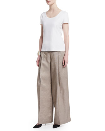Pleated-Front Wide-Leg Pants, Hickory Iridescent