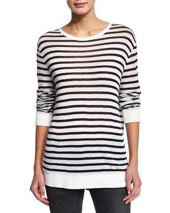 Striped Linen-Blend Tee, Ink/Ivory