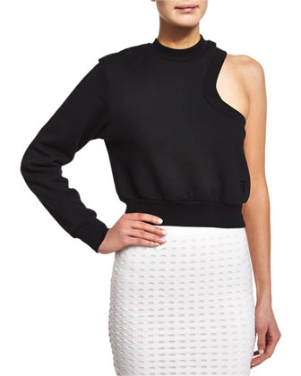 One-Sleeve Cropped Sweatshirt, Black