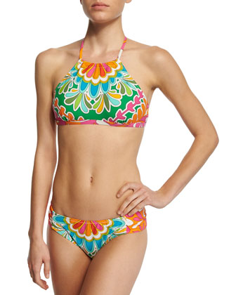 Tamarindo High-Neck Swim Top, Multi